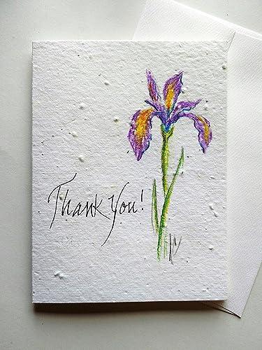 Amazon original hand painted iris on a plantable greeting card original hand painted iris on a plantable greeting card w greeting options m4hsunfo