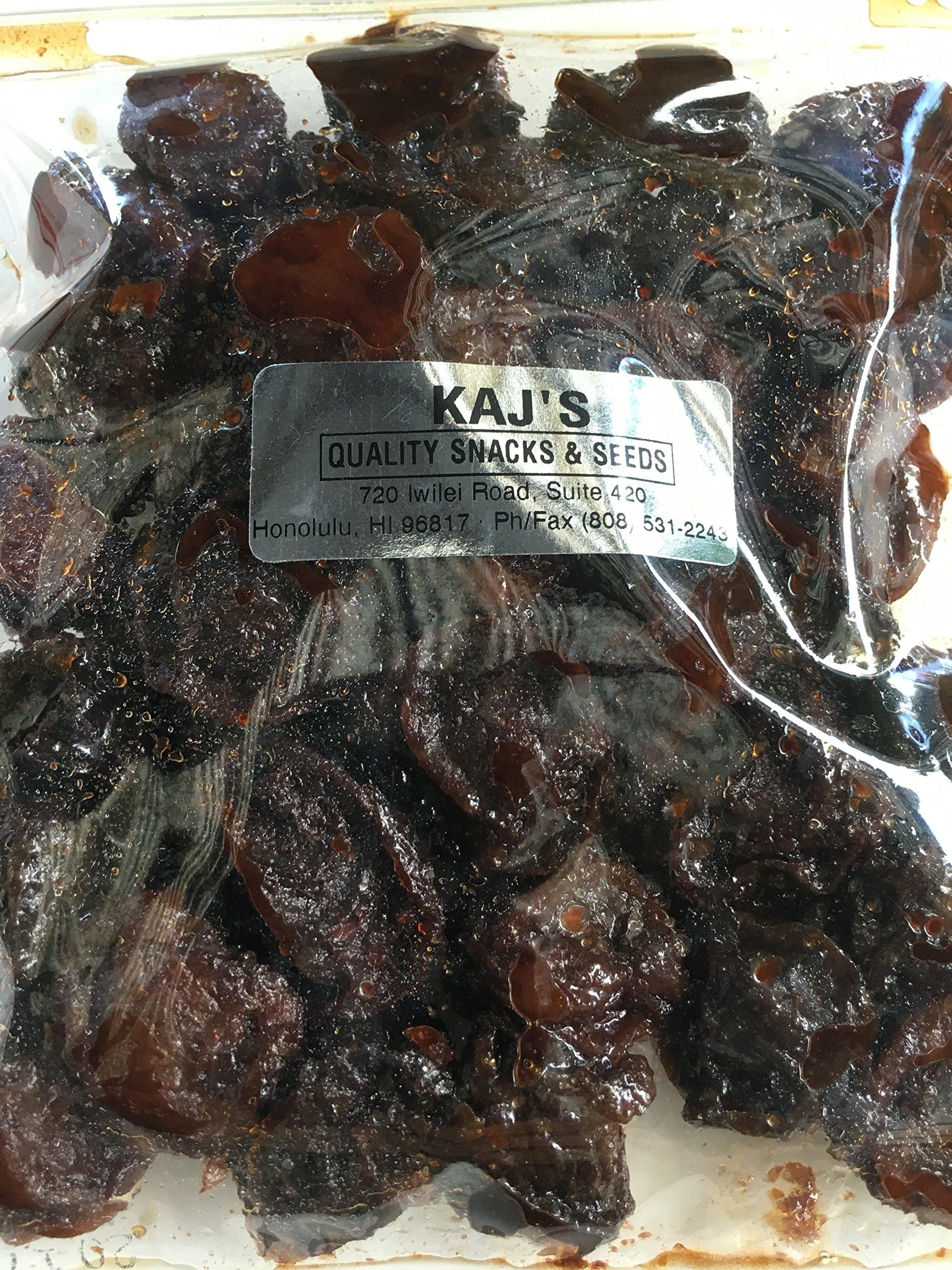 Kaj's Rock Salt Plum Wet Li Hing Mui Dried Preserved Plums 8 Ounces by KAJ's Quality Snacks and Seeds