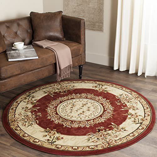 Safavieh Lyndhurst Collection LNH328C Traditional European Medallion Red and Ivory Round Area Rug 5'3″ Diameter
