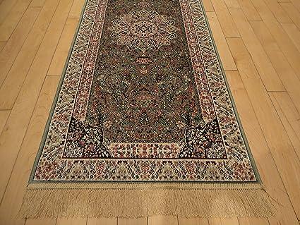 Luxury Green Rug Silk Traditional Persian Isfhan Design 8x12 Area 2x4 Entrance 2x8