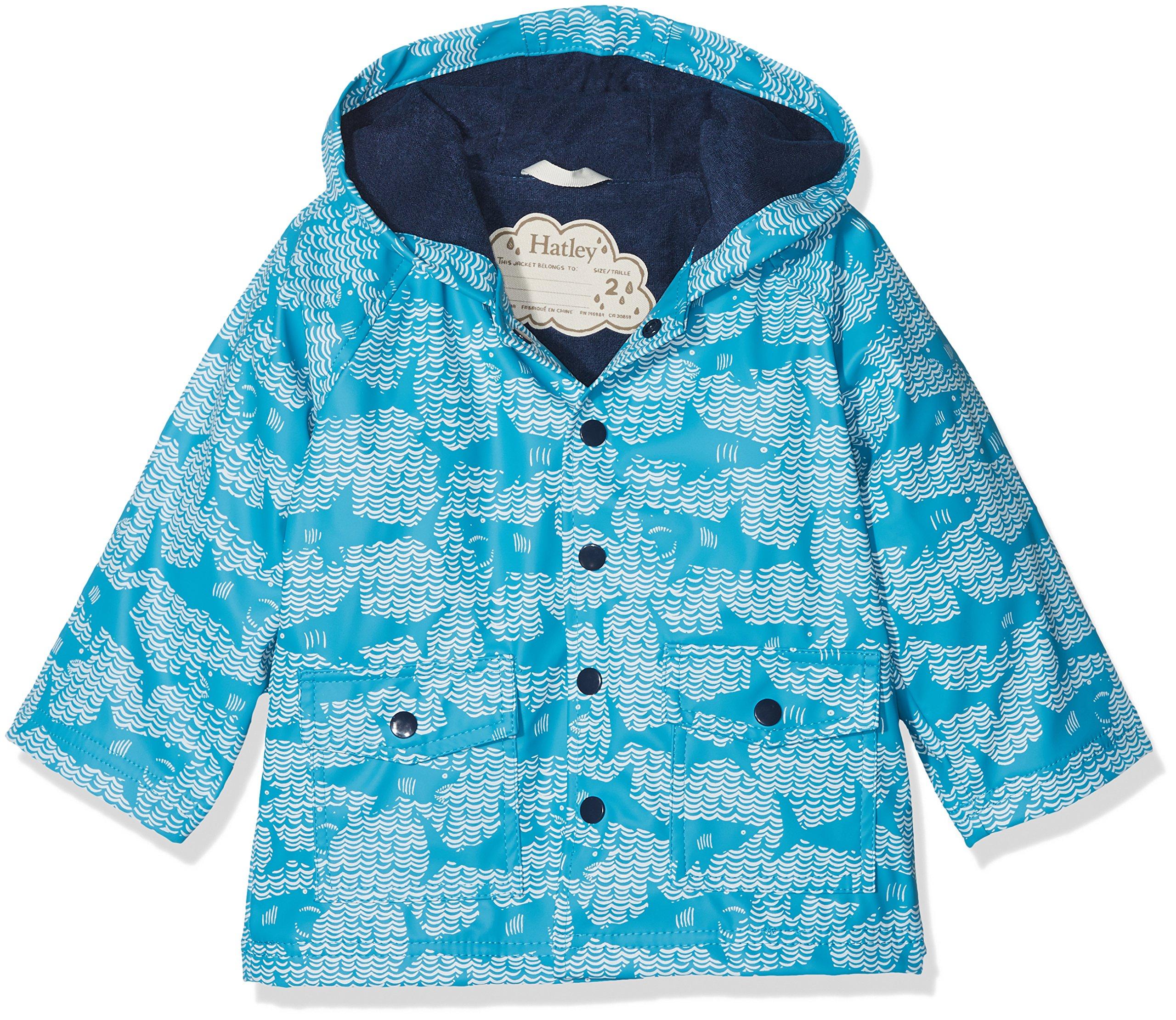 Hatley Kids Baby Boy's Shark Alley Classic Raincoat (Toddler/Little Kids/Big Kids) Blue 6
