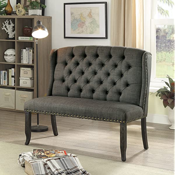 HOMES: Inside + Out IDF-3324BK-GY-BN Noemi Transitional 2-Seater Loveseat Bench, Dark Gray