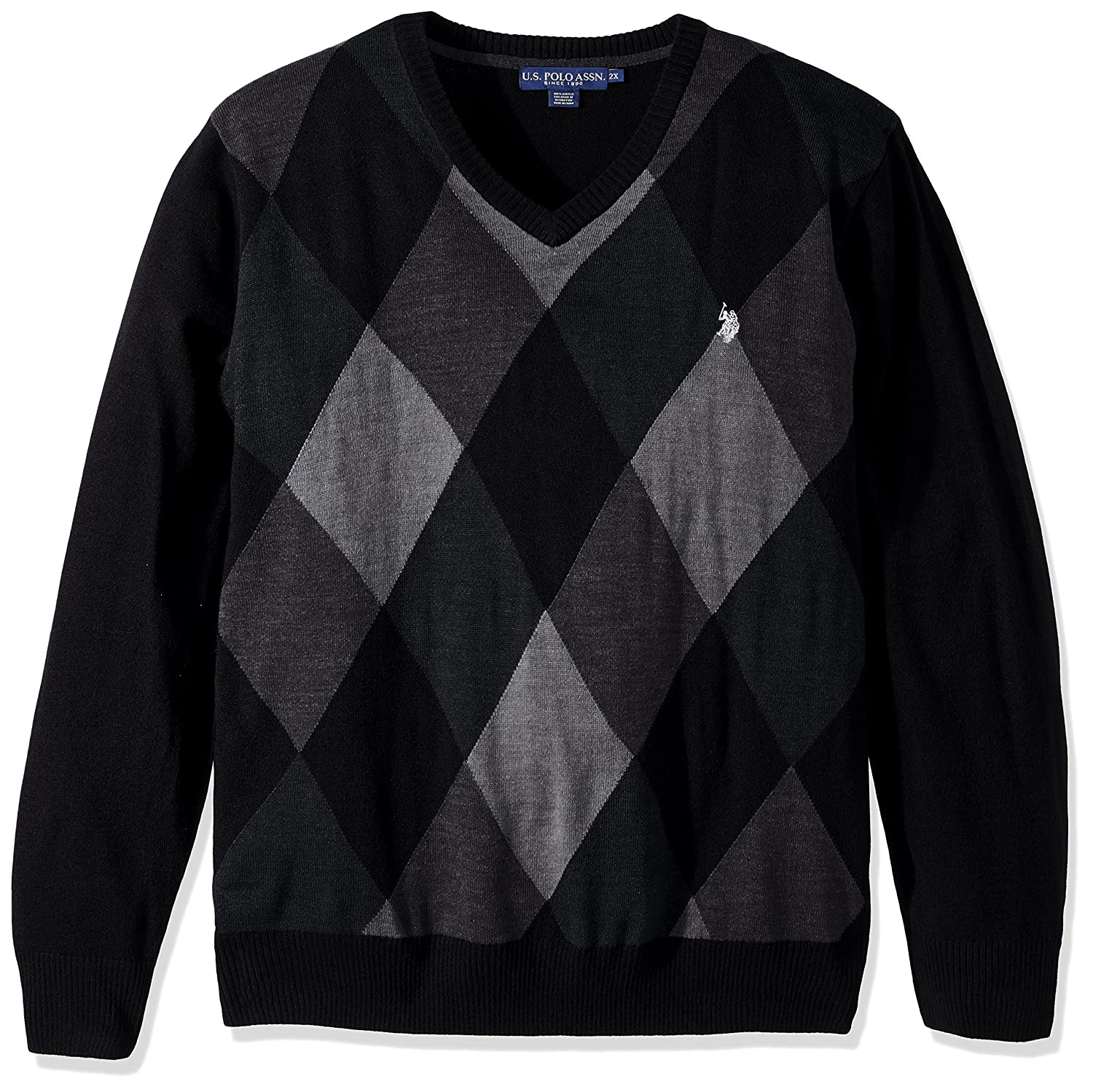 U.S. Polo Assn. Mens Soft Acrylic Argyle V-Neck Sweater 5697X