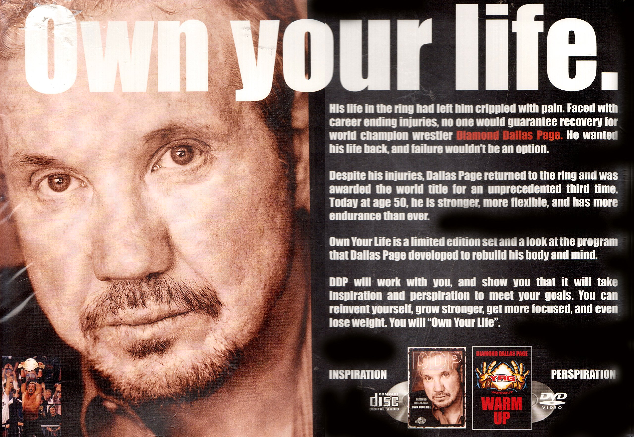 Own Your Life Inspiration Cd And Perspiration Dvd Warm Up Diamond Dallas Page Amazon Com Books