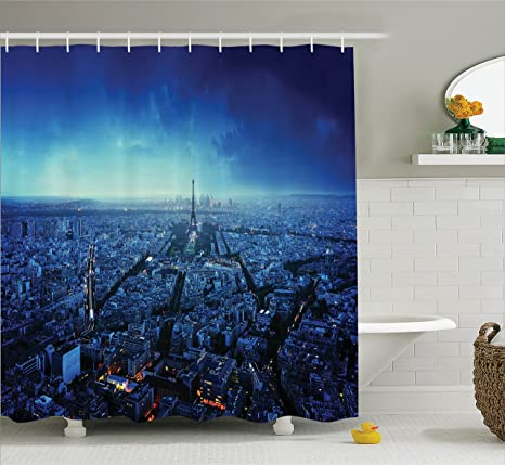 Ambesonne Paris Shower Curtain Set Skyline At Sunset France European City Parisian Landmark Travel Destination
