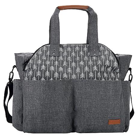 Lekebaby - Bolso cambiador de pañales para bebé, gran capacidad para gemelos gris Talla: