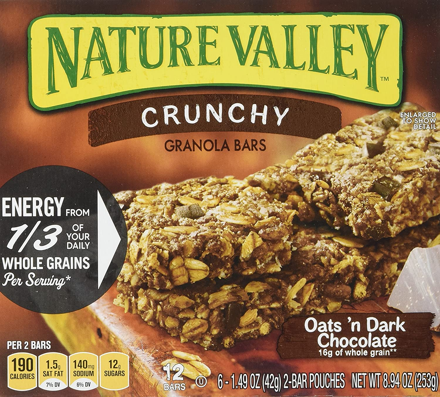 Nature Valley Crunchy Oats'n Dark Chocolate Granola Bars 8.94 oz (Pack of 12)