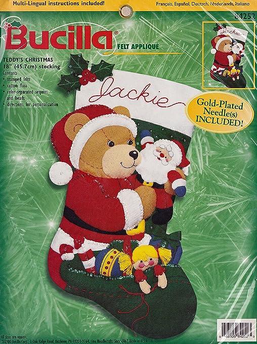 Bucilla Snowman /& Teddy Bear Christmas Felt Applique Stocking Kit 84954