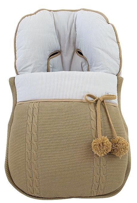 Modelo sophie Saco silla de paseo universal de invierno en punto de lana y algod/ón de rayas Camel//camel