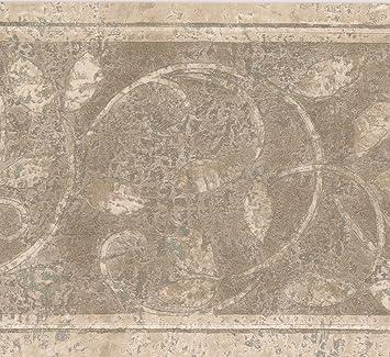 Brown Beige Abstract Damask Wallpaper Border Retro Floral Design