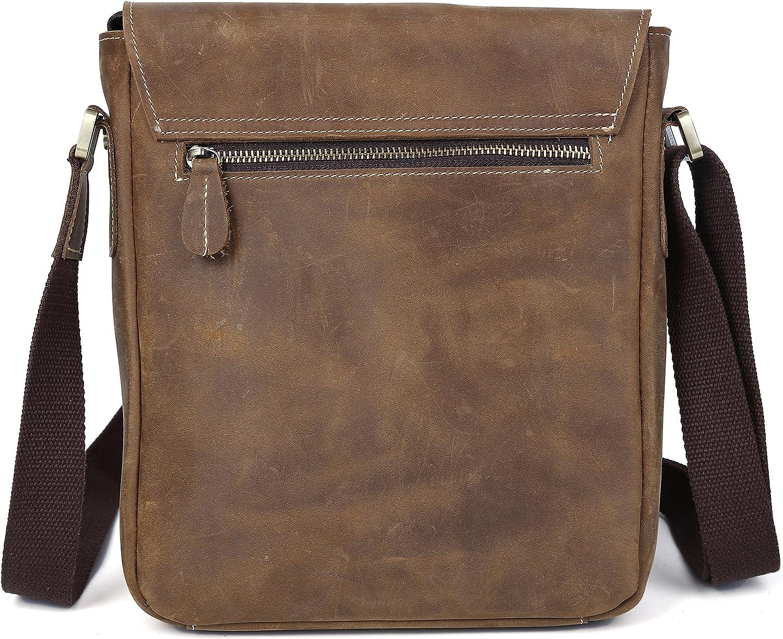 Iswee Vintage Crazy Horse Cowhide Leather Messenger Bag Shoulder Bag and Handbag Cross Bag in Brown for Men
