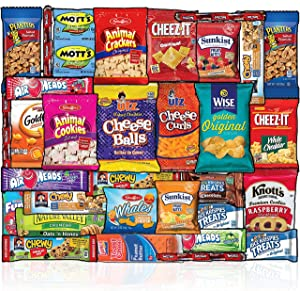 Snacks Box (30 Count) Ultimate Sampler Mixed Box, Cookies Chips Candy Care Package for Office Meetings Schools Friends & Family Military College, Christmas Gifts Baskets, Snack Variety Pack