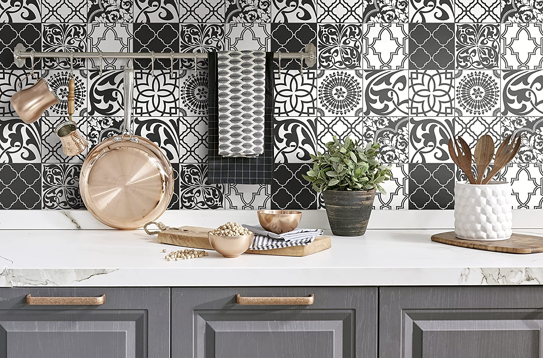 Nextwall Graphic Tile Peel And Stick Wallpaper Black White Amazon Com