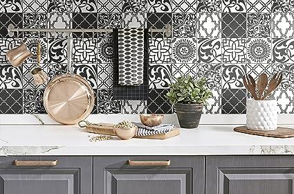Nextwall Graphic Tile Peel And Stick Wallpaper Black White