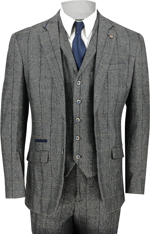 Cavani Mens 3 Piece Tweed Suit Vintage Herringbone Grey Check Retro Slim Fit Jacket Trousers Waistcoat