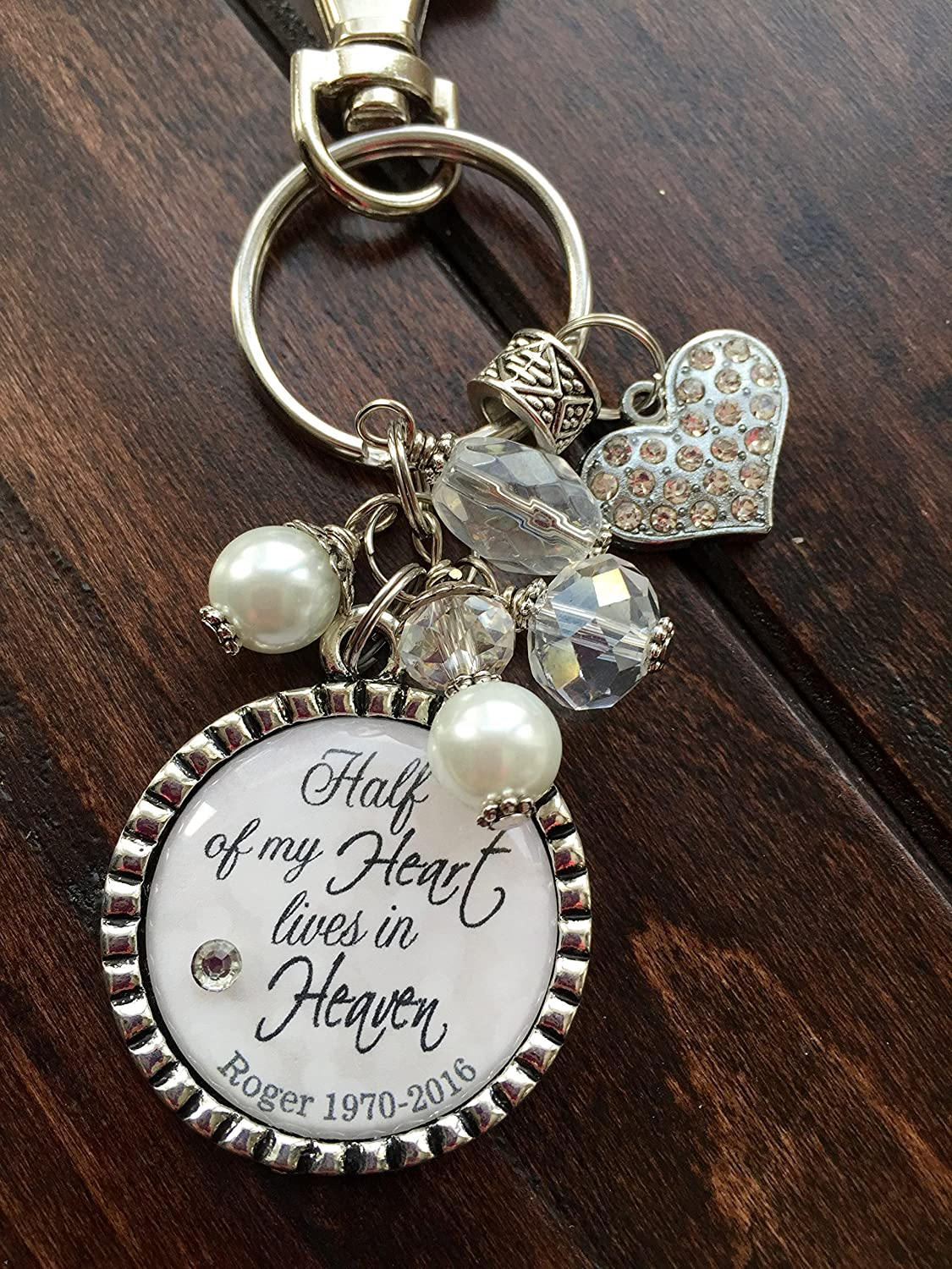 Personalized Memorial Keychain I Will Hold You In My Heart Cremation Memorial Gift Hand Stamped Remembrance Gift,