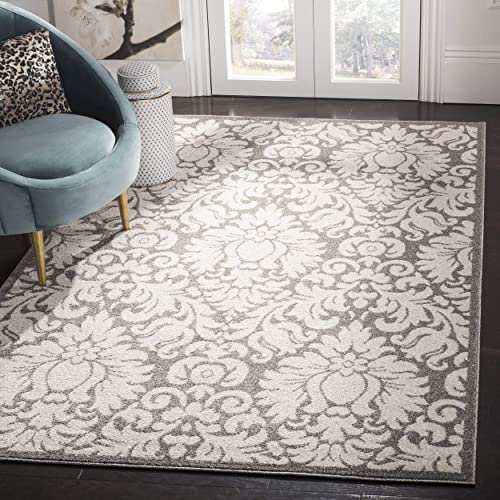 Safavieh Amherst Collection AMT427R Damask Area Rug, 3 x 5 , Dark Grey Beige