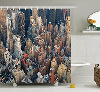 Amazoncom Ambesonne Nyc Decor Collection Manhattan Skyline Aerial