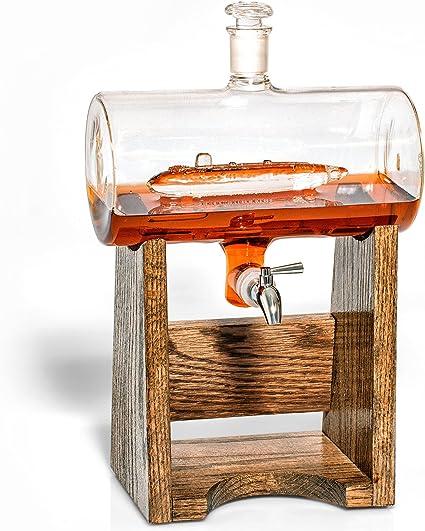 Submarino de licor decantador – Scotch Whisky decantador – 1150 ml dispensador de alcohol – Vodka, Bourbon, Ron, vino, whisky, Tequila o incluso ...