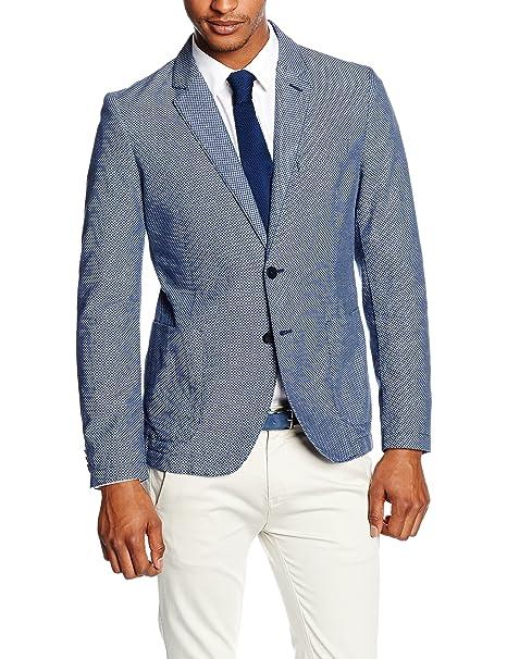 Benetton Polka Dot Slim Fit Bazer - Chaqueta de traje Hombre, Azul (Navy), M: Amazon.es: Ropa y accesorios