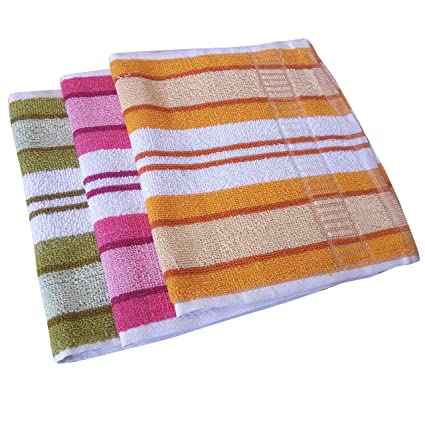 100% Cotton Terry Hand Towel (Pack of 3, Multi-Colour)