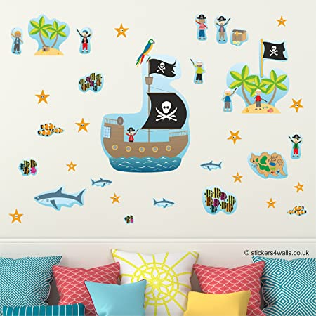 Pirate Wall Stickers For Kids, Pirate Wall Decals, Pirate Wall Graphics,  Removable Reusable