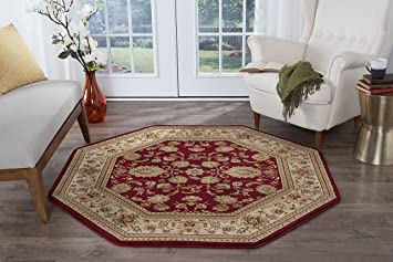 Universal Rugs Gabrielle Traditional Oriental Red Octagon Area Rug 6