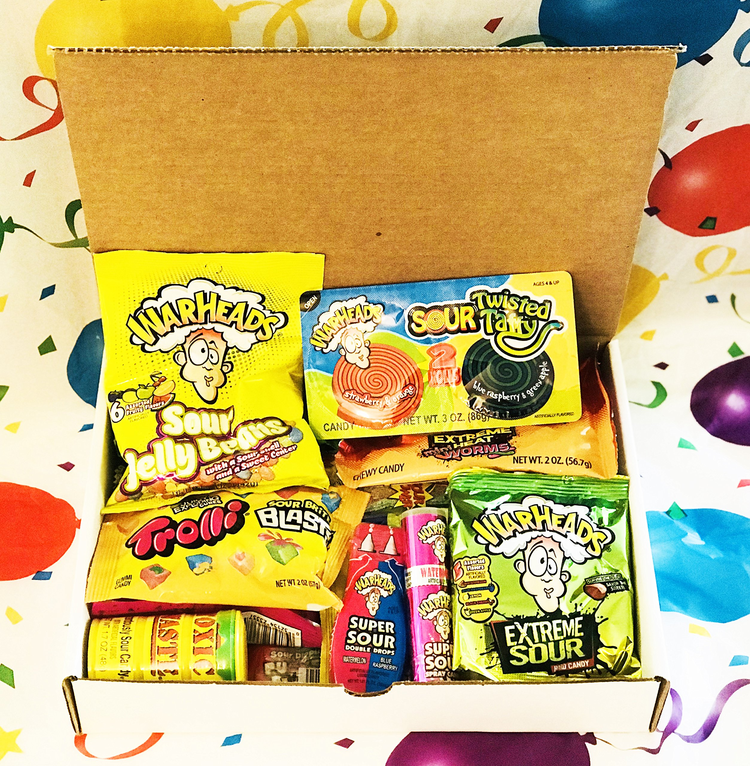 Sour Candy Assortment Gift Box ~ Warheads Extreme Sour Hard Candy, Toxic Waste, Sour Patch Kids, Belts, Spray, Straws, Airheads Xtreme Bites, Brite Blasts, Pop Rocks Dip, Pucker Pack Powder, and more by Woodstock Candy (Image #4)