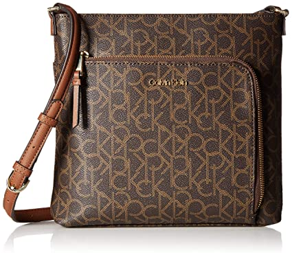 fba51adadc8 Calvin Klein Hudson Monogram Top Zip North/South Crossbody,  Brown/Khaki/Luggage