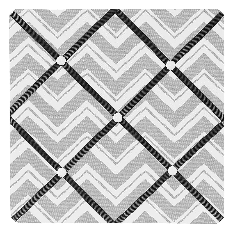 Sweet Jojo Designs Black and Gray Chevron Zig Zag Fabric Memory/Memo Photo Bulletin Board
