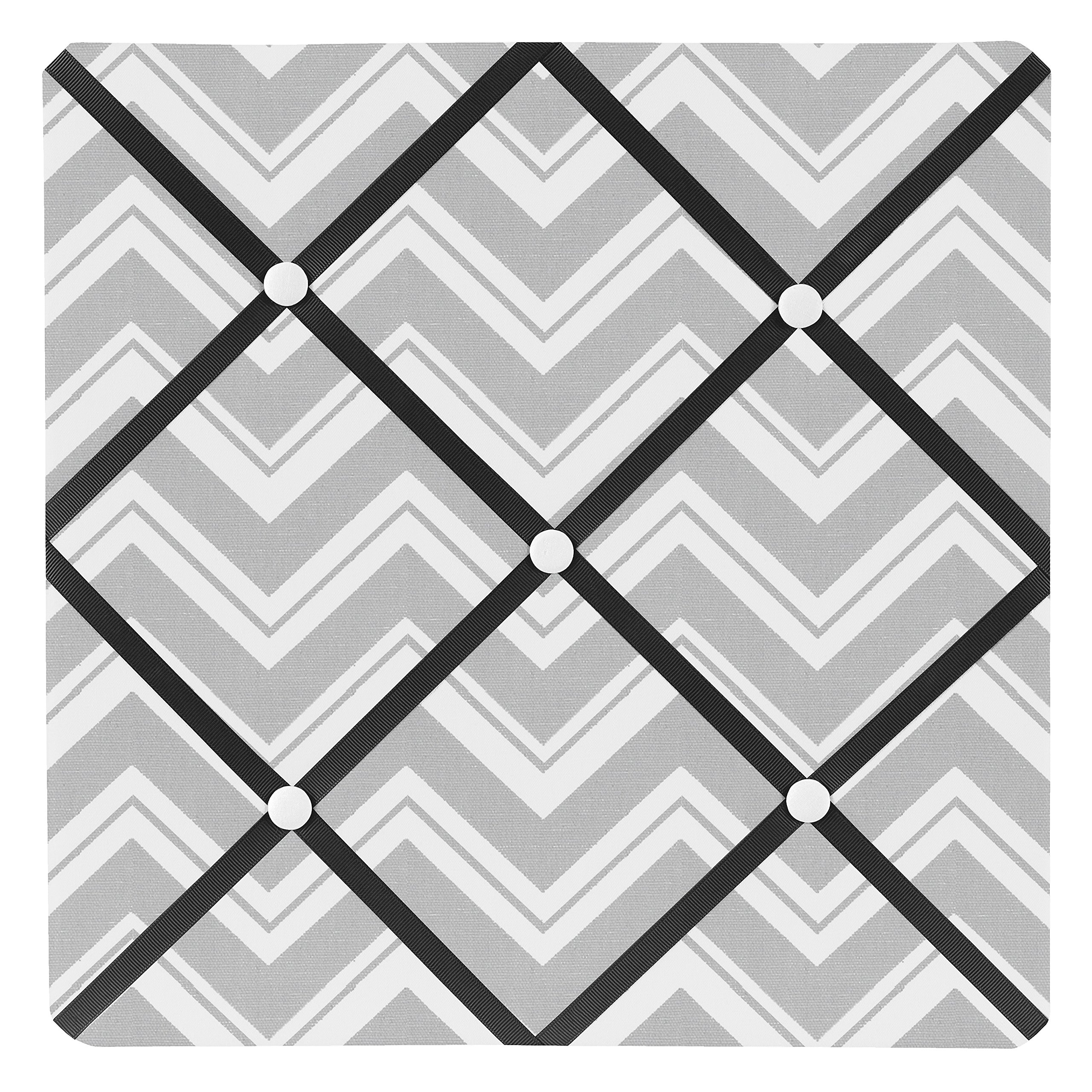 Sweet Jojo Designs Black and Gray Chevron Zig Zag Fabric Memory/Memo Photo Bulletin Board