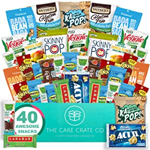 Care Crate Gluten Free Healthy Snacks Variety Pack - Low Carb, Vegan treats for Adults and Kids - Organic, Dairy Free, Keto and Paleo Options - Assorted 40 Pack Gift Box