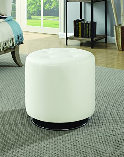 Coaster Home Furnishings Round Upholstered Ottoman White
