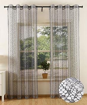 84f4a143e838a6 Gardinenbox Gardine Netz Struktur mit Ösen einfarbig transparent Deko  Vorhang Netzvorhang 2 Stück 245x140 Grau,