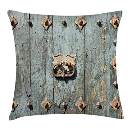 Ambesonne Rustic Throw Pillow Cushion Cover, European Cathedral With Rusty  Old Door Knocker Gothic Medieval