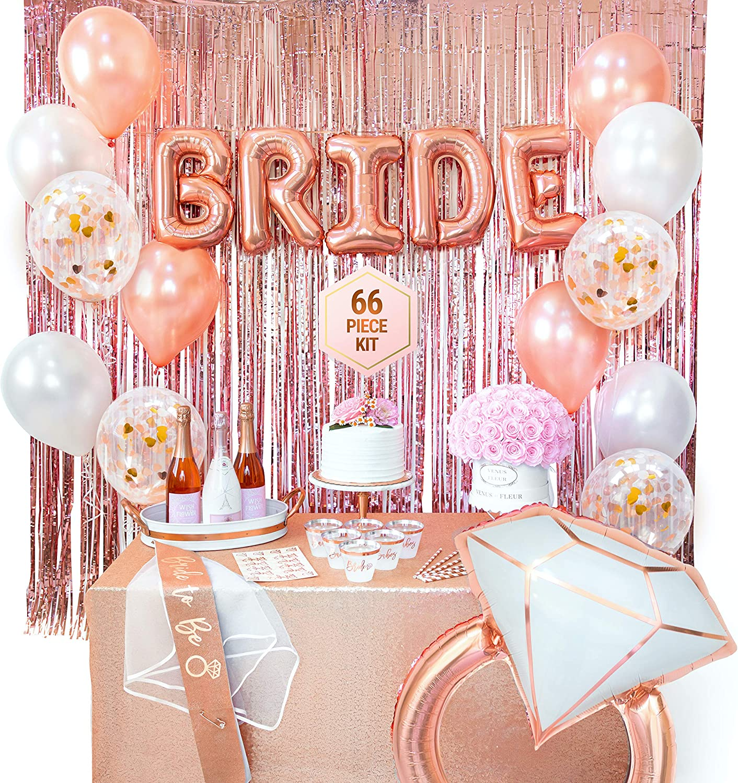 Bachelorette Party Decorations | Bridal Shower Supplies | Bride to Be Sash, Veil, Rose Gold Cups, Rose Gold Fringe