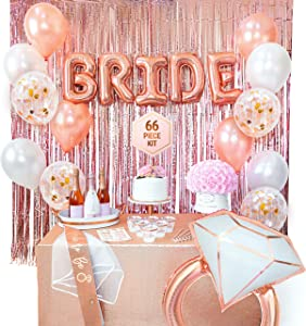 Bachelorette Party Decorations   Bridal Shower Supplies   Bride to Be Sash, Veil, Rose Gold Cups, Rose Gold Fringe