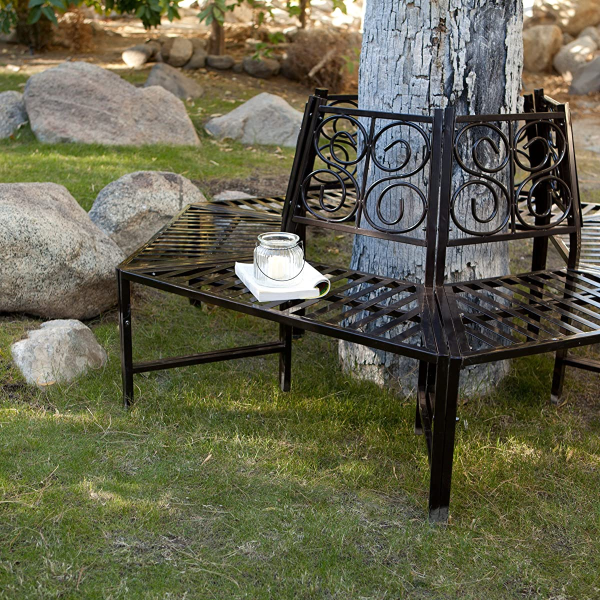 Wrap Around Tree Bench, This Metal Tree Surround Bench Is Ideal in Outdoor Gardens and Backyard Seating Area, Add This Wrap Around Garden Bench for Creativity! Surround Bench Is Made of Heavy Iron