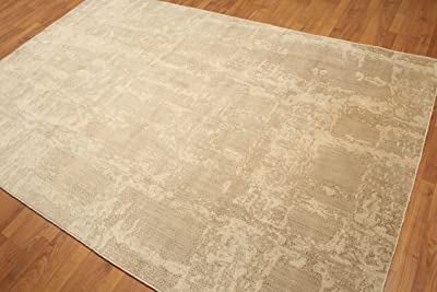 6'x9' Max Beige, Light Brown, Multi Persian Hand Knotted Wool Oriental Area Rug