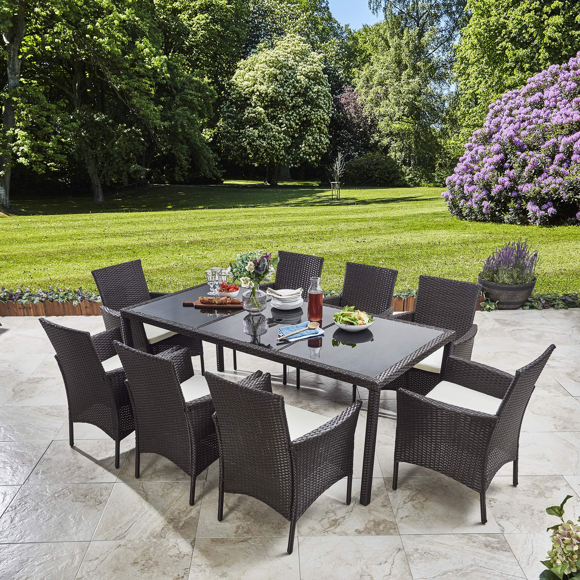 Bella Life Rattan Dining Furniture Set 9 Seater Dining Table + 9