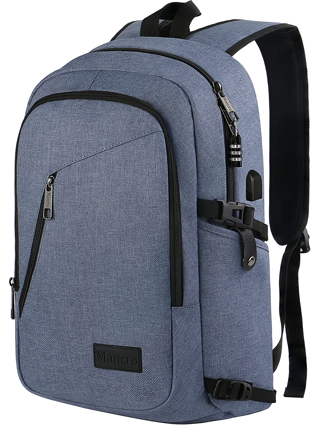 """Travel Backpack For Men, Anti Theft Laptop Backpack W/Usb Port, Lightweight Slim College School Backpack, Water Resistant Sturdy Carry On Rucksack For Work Campus Fit 15.6"""" Computer (Bleached Denim) by Mancro"""