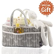 Baby Diaper Caddy Organizer Grey-Storage – Extra Large for Baby Accessories – Can Use As Portable Travel Station – Perfect Baby Shower Gift – 100% Cotton, Includes Free Bottle Brush