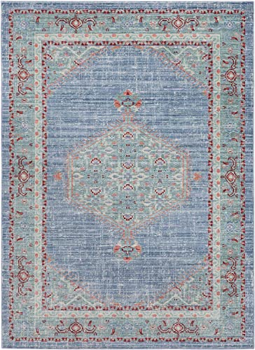 Idris Bright Blue and Mint Updated Traditional Area Rug 2 x 3
