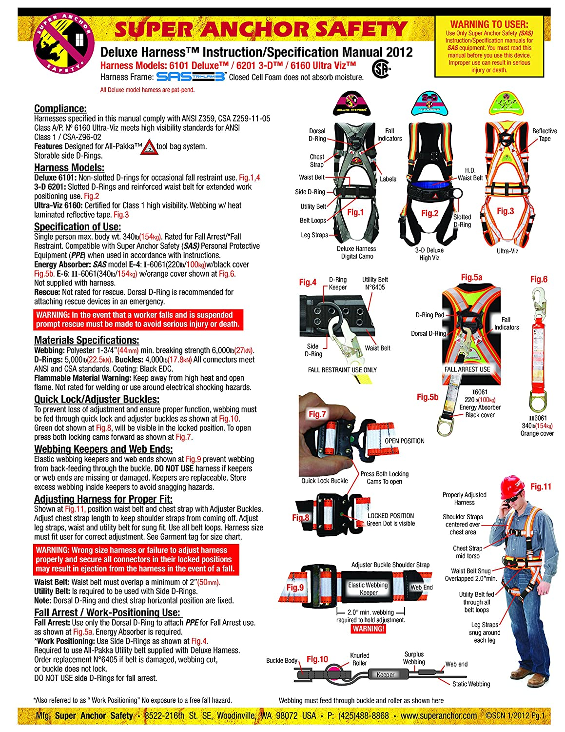 Silver Large Long Super Anchor Safety 6151-SLL Deluxe Full Body Harness plus All-Pakka Tool Bag Combo