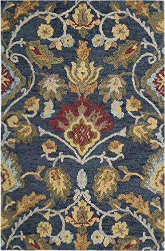 Safavieh Blossom Collection BLM402A Handmade Navy and Multi Premium Wool Area Rug 2 x 3