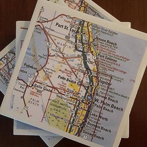 Map East Coast Of Florida.Amazon Com Florida East Coast Map Coasters Set Of 4 Great Gift