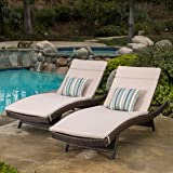 Lakeport Outdoor Brown Wicker Adjustable Chaise Lounge With Textured Beige Cushions (Set Of 2)