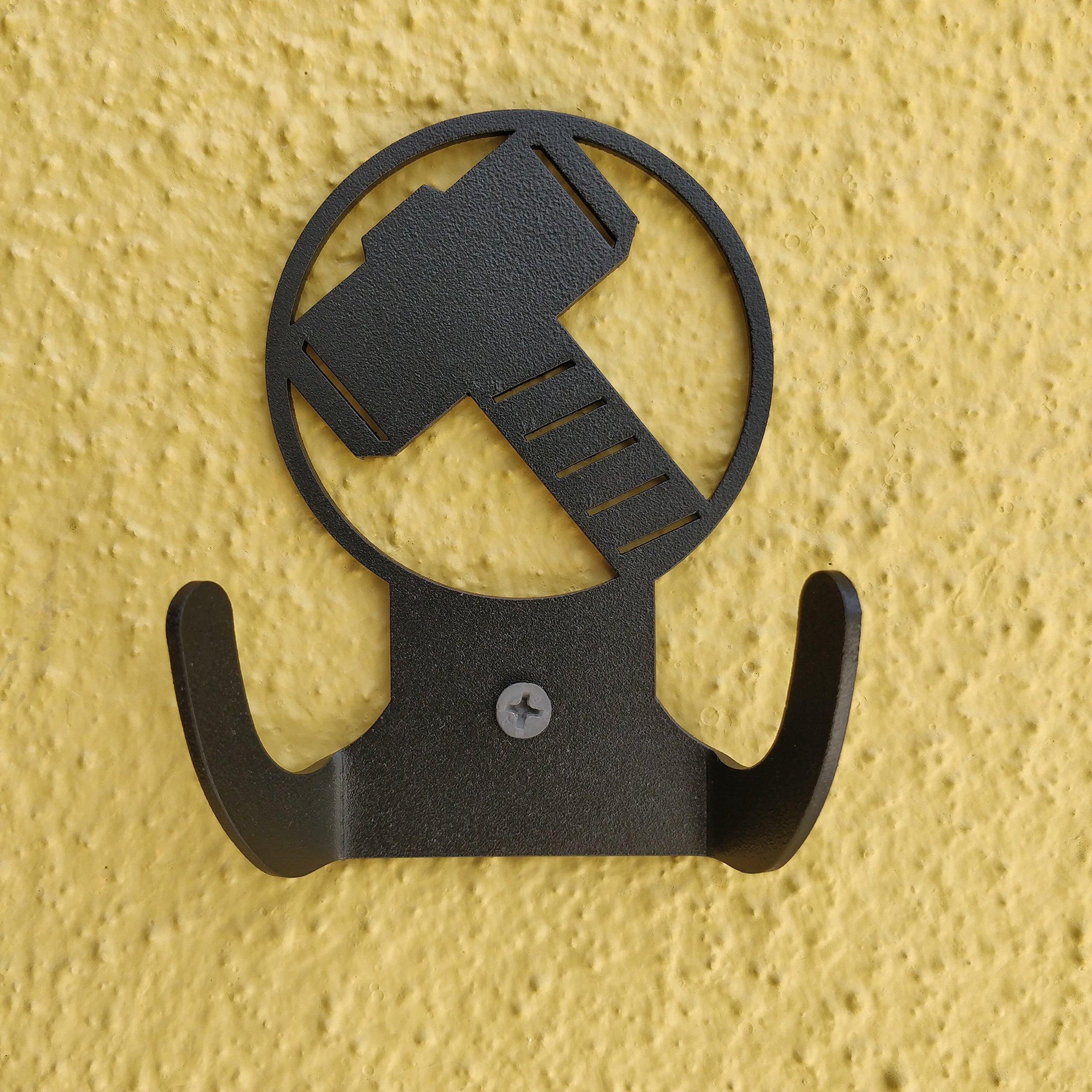 HeavenlyKraft Thor Logo Steel Wall Hook Dual Holder for Living Room Coat Hat Robe Hanger Bathroom Towel Kitchen Strong Heavy Duty Garage Storage Organizer Utensil Hook Single, 4 X 3.14 X 1.4 Inch