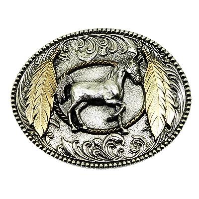 Cabré Cheval   Plumes Boucle de Ceinture - Américain Western Thème 24ct  Plaqué Or - Authentique 89e1f6c7b08