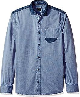 Buffalo David Bitton Mens Sabitelo-x Ls Slim Stretch Slub Denim Button Down Shirt